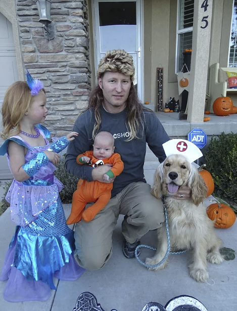 Here is our Golden Cocker Retriever, Piper the nurse, with a darling Jack-o-lantern, Joe Dirt, and Mermaid
