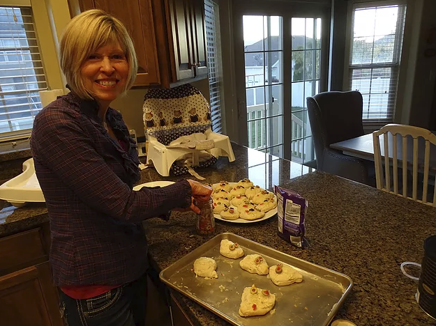 My Mom with her festive ghost rolls! Gotta LOVE 'em!