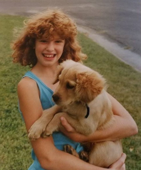 "Here is my 10-year-old self with my first Miniature Golden Retriever Muffin Lacey or ""Muffy"" for short. She was a mix between the Golden Retriever and Cocker Spaniel."