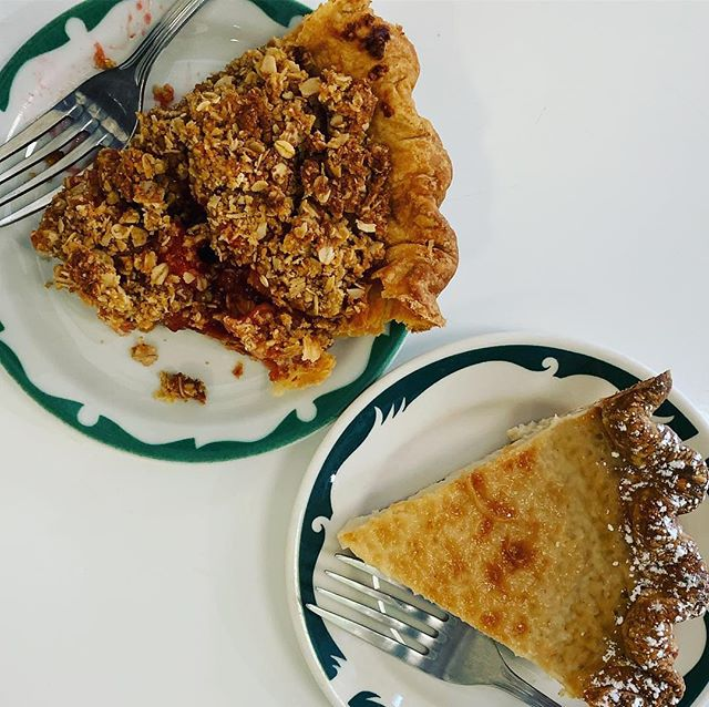 They say imitation is a form of flattery. Hoosier Mama Pie Co. @hoosiermamapie in Chicago served these beauties up to us a few weeks ago. One, the Hoosier Mama Sweet Cream, is one of our fan favorites. The second, apple cherry 🍒 oat crumble is about to make its debut this week. Let's just say we're a little obsessed. The Pie Loop is out and ordering opens at 9 am tomorrow.