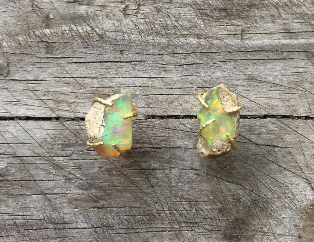 Rough opal earrings