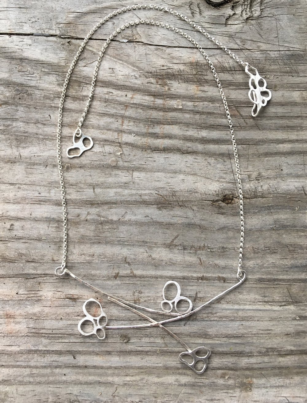 Paw print necklace in sterling silver