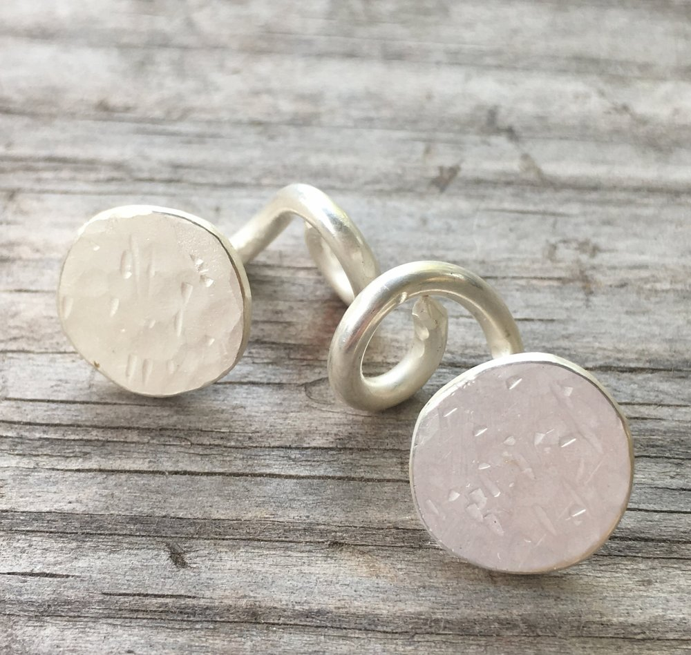 Hand made silver nail cuff links