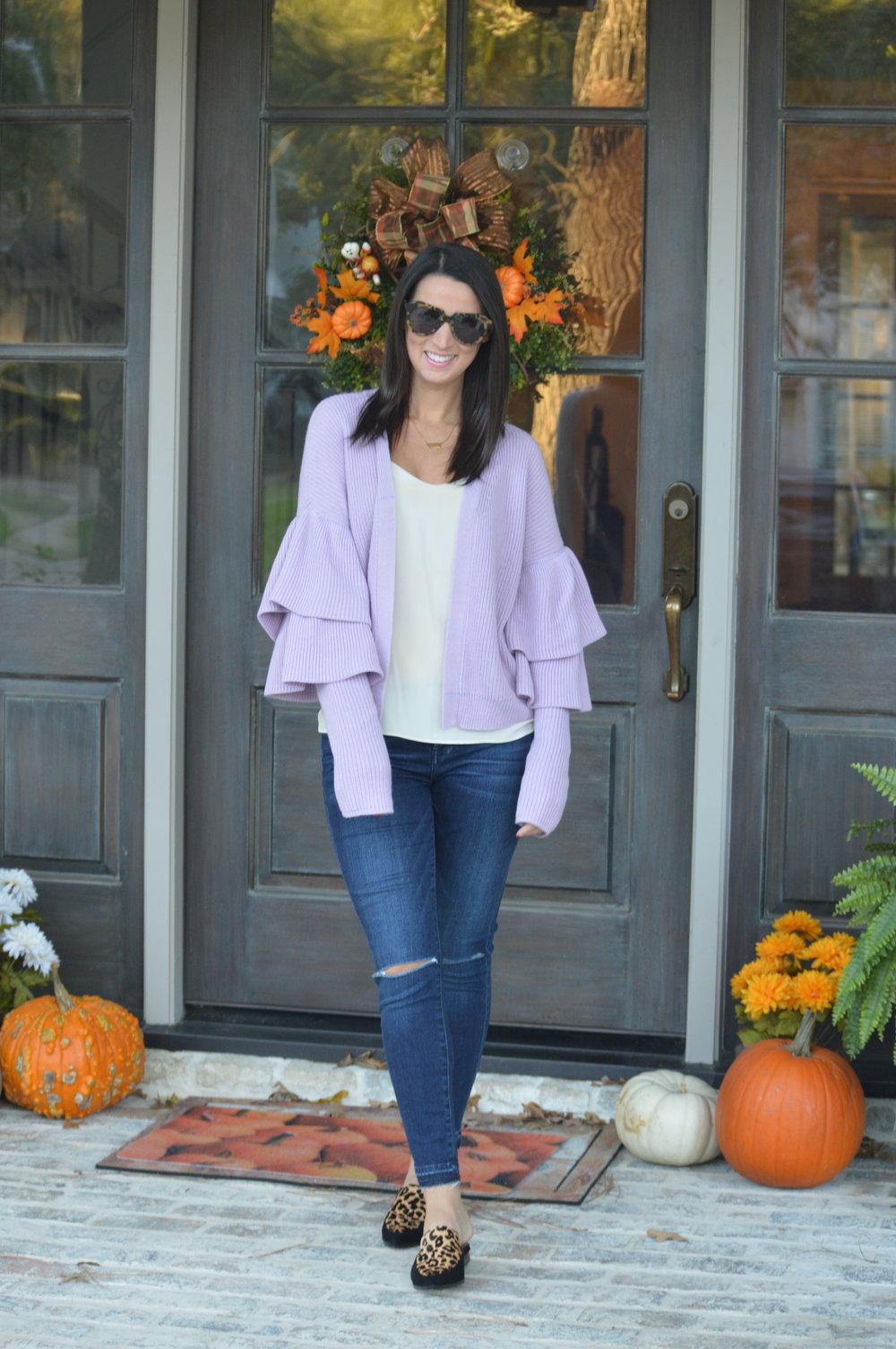 Sweater cardigan  |  Jeans  |  Leopard flats