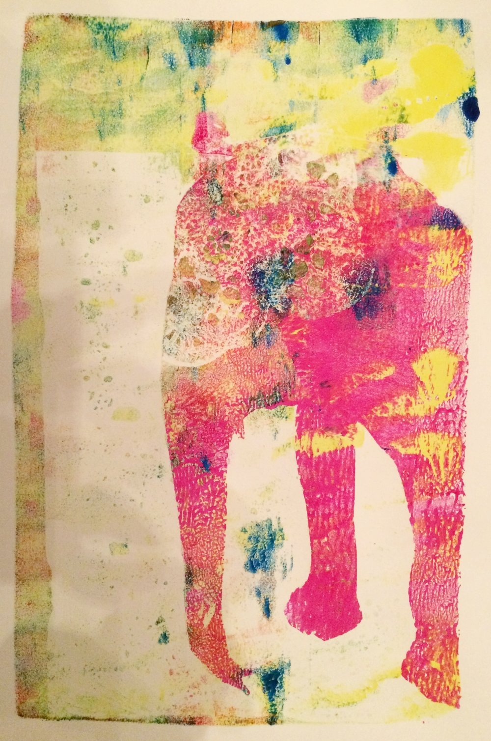 "Painted Elephant,  2015, monotype, 6"" x 9.5"""