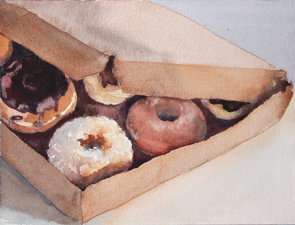 "Tempting Donuts,  2017, watercolor, 12"" x 18"""