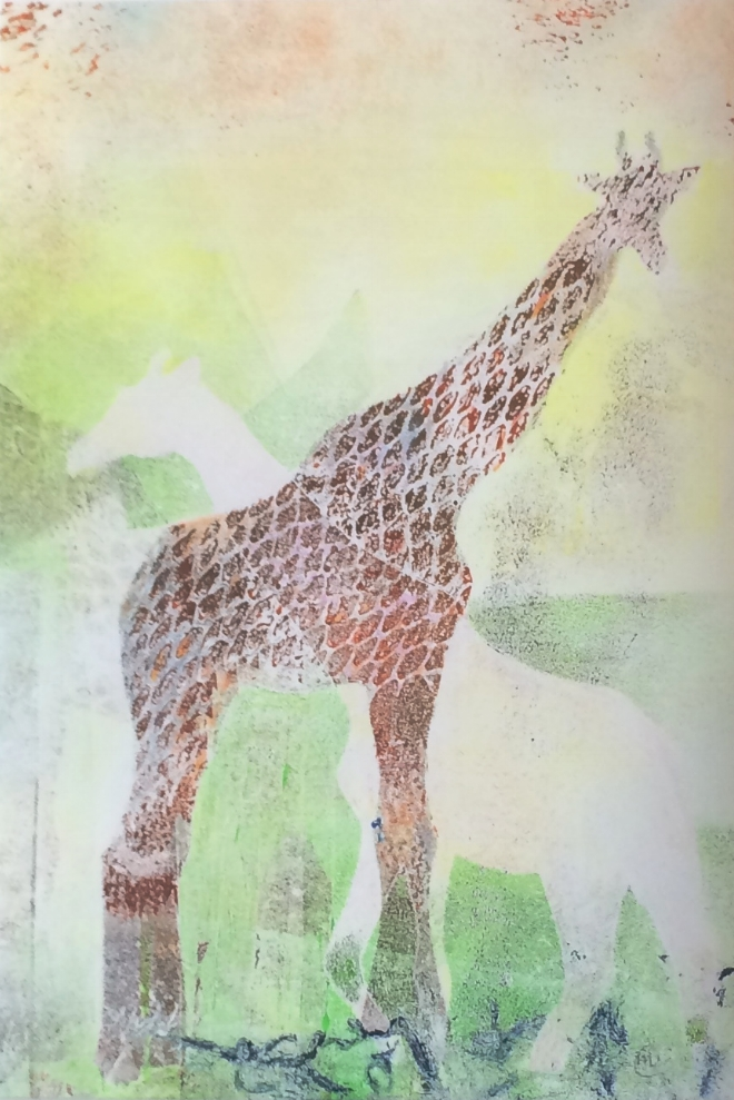 "Dream of Giraffes,  monotype, 5"" x 8.5"", 2016"