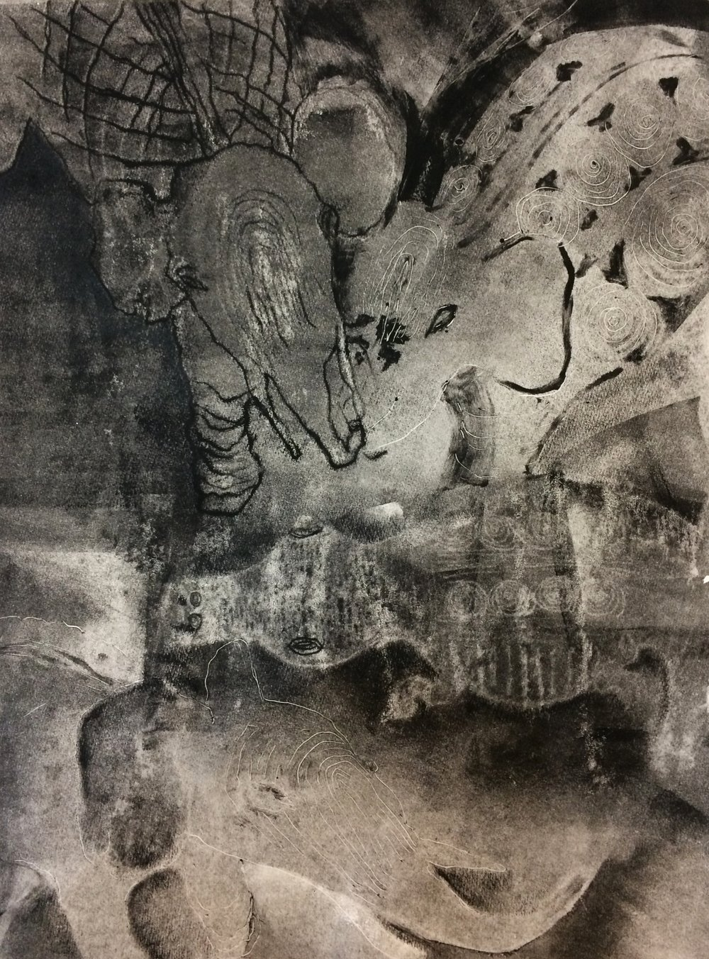 "Elephants and Crocodile,  2017, monotype, 10"" x 14"""