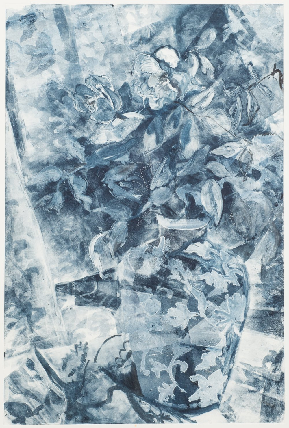"Delft Blue,  monotype, 2015, 18"" x 24"""