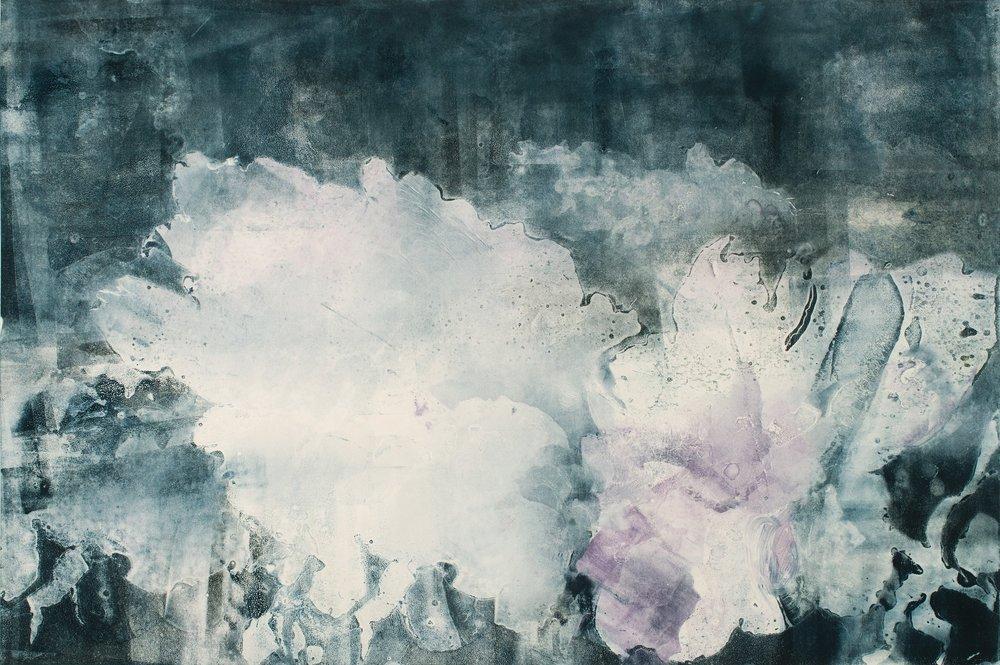 "Flow Blue Roses,  2017, monotype, 22"" x 30"""