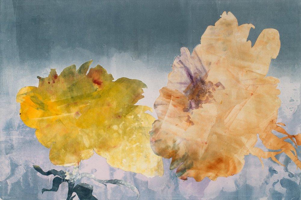 """Yellow and Orange Roses,  2017, monotype, 22"""" x 30"""""""