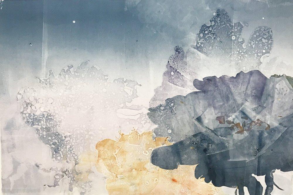 "Galactic Roses,  2017, monotype, 22"" x 30"""