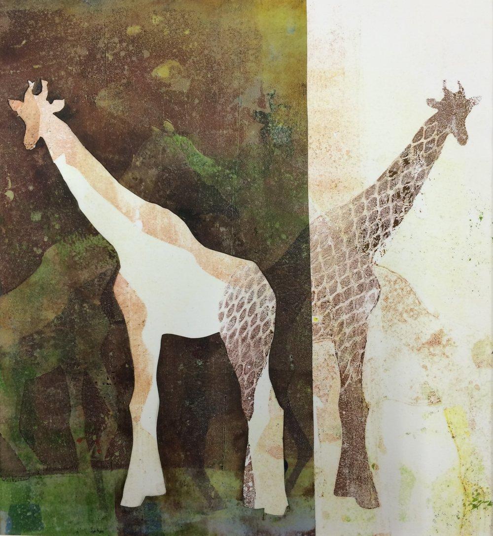 """Giraffe,  2016, monotype, 10"""" x 11"""""""
