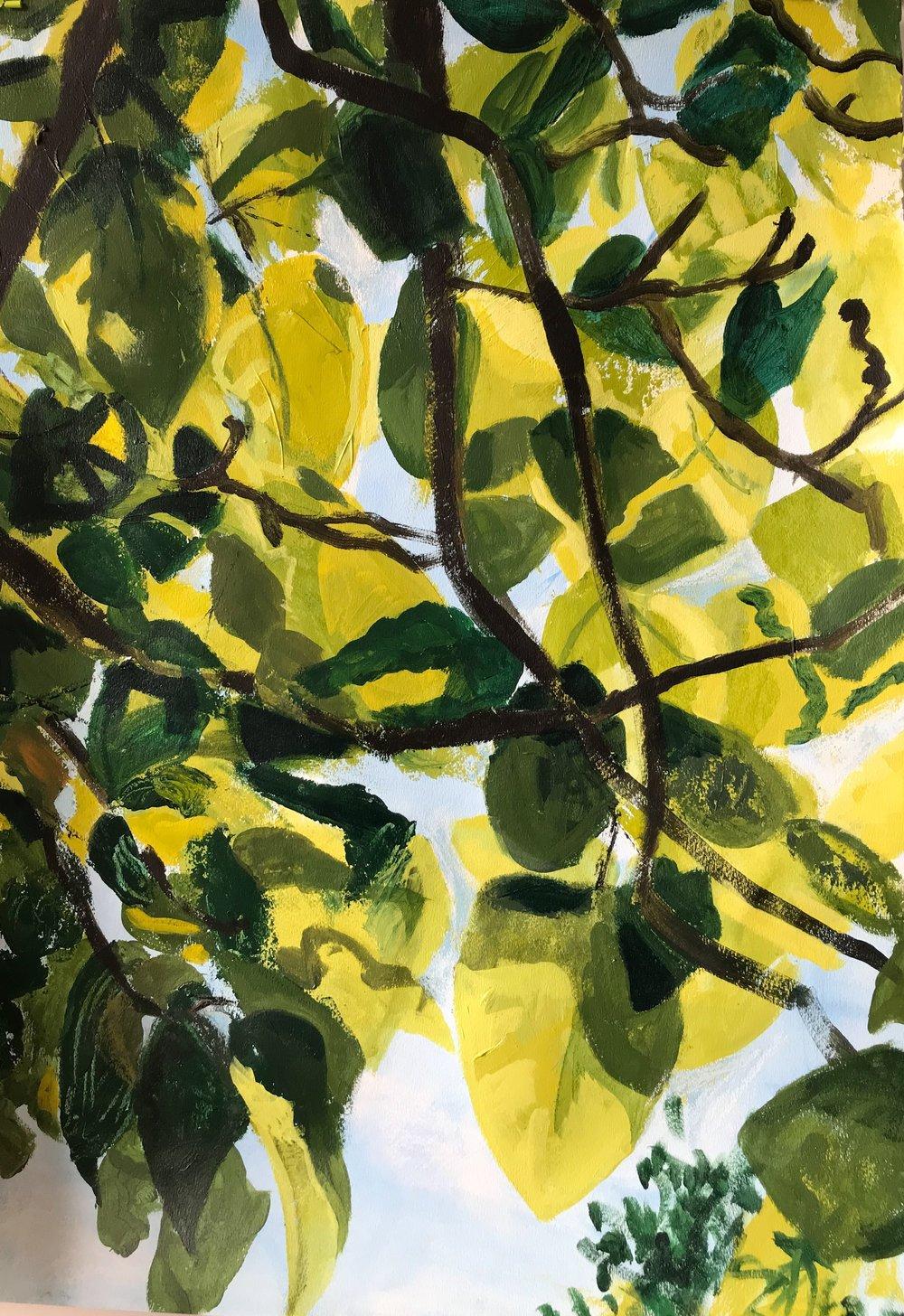 "Midsummer,  2018, acrylic & pastel on paper, 18"" x x 22"""