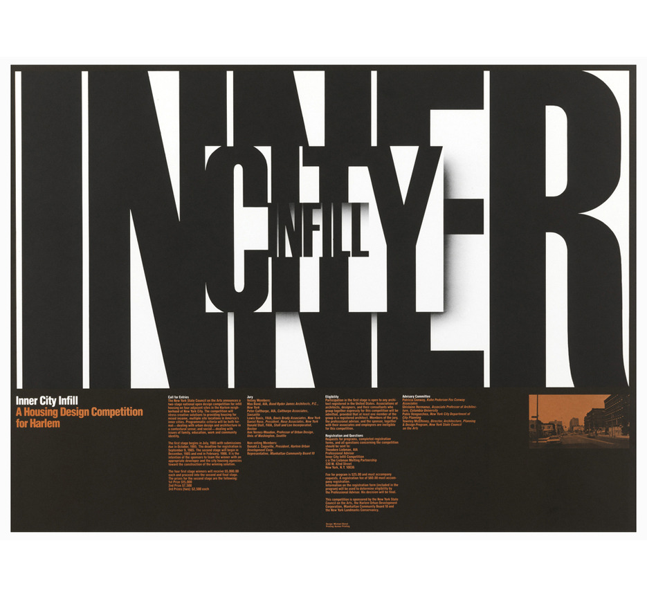 Poster Inner City Infill, 1985. The New York State Council for the Arts, USA. Via  Cooper Hewitt