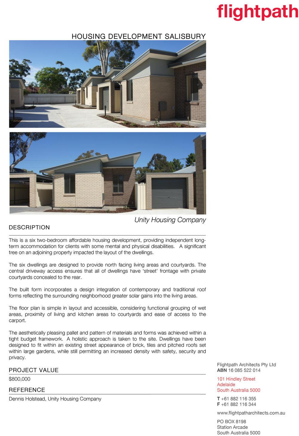 2012 - Unity Housing Salisbury
