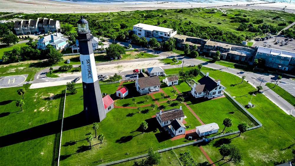 Aerial Drone Tybee Island Lighthouse