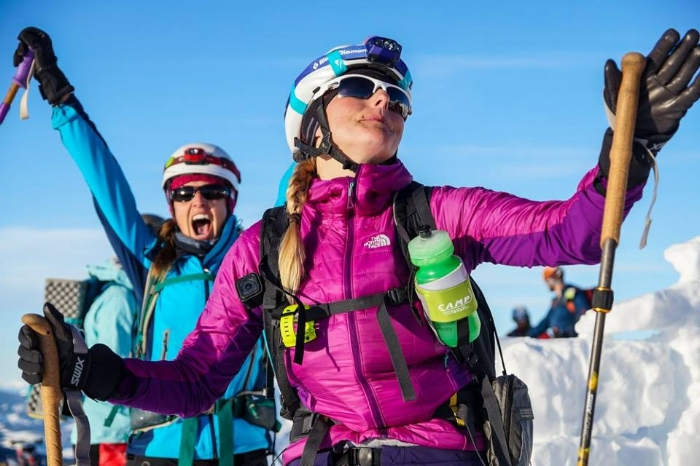 Topping out at Starr Pass during the 2017 Grand Traverse backcountry ski race with my partner in crime. Photo courtesy GT staff.