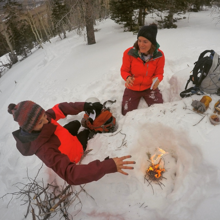 Praise Ullr. Mini bonfire to offer and meditate, Hahn's Peak, December 2017.