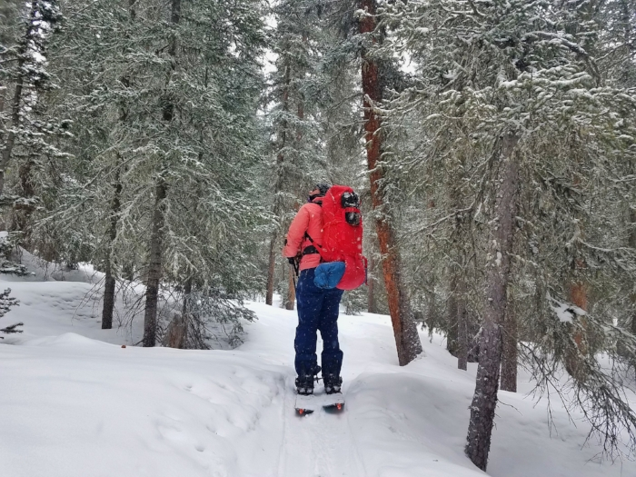 Lacey moves through the Gore Range carrying her provisions, April 2018.