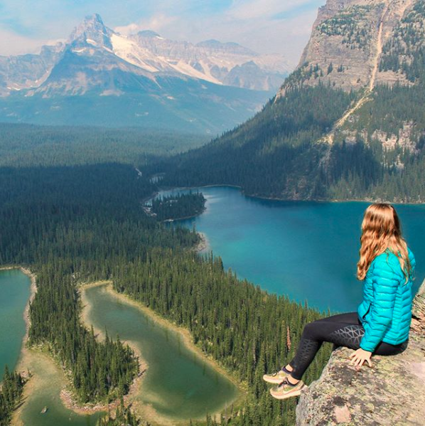 View of Lake O'Hara and Cathedral Mountain from Opabin Prospect, on the Opabin Plateau Trail hike