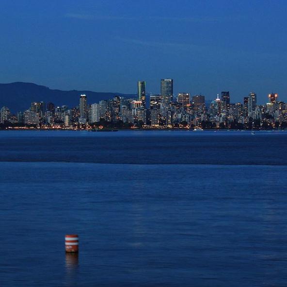 Vancouver city skyline, from Jericho Beach