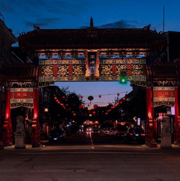 Chinatown in Victoria at twilight