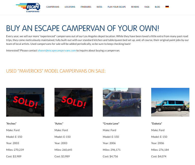 We're not anyway affiliated with Escape Campervans, incase you think I keep banging on about them! We just had all good experiences with them, not to mention they sold us a great campervan.