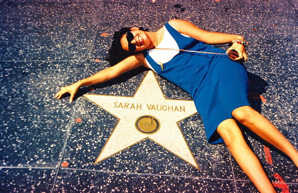 - The Divine One, Sarah Vaughn and me on the Hollywood walk of fame.