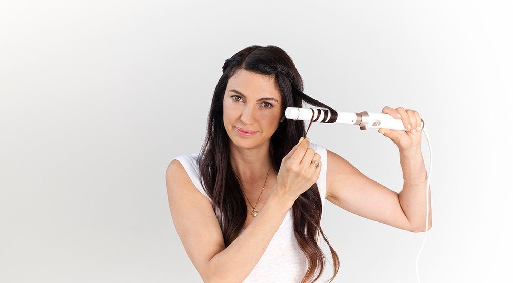 "STEP 4 - Detail your hair with the T3 Micro Undone Waves Straight Barrel by curling random ½"" sections around the head."