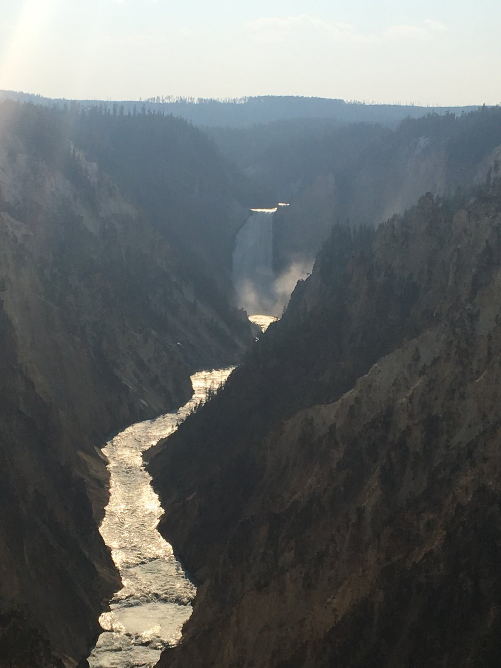 Yellowstone Falls from Artists Point. The light was pretty terrible and it was hazy out, so the photo does NOT do this one justice. It's my favorite part of the park by far.