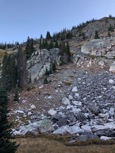 Rockslide area right by our campsite!