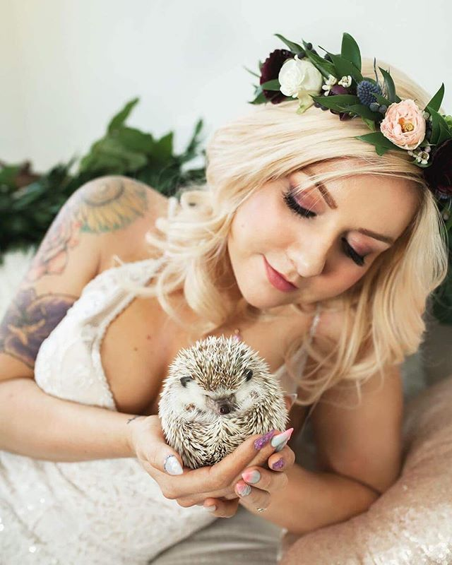 Starting the New Year off with a bang and this adorable hedgehog! Here's a sneak peak from Tuesday's shoot.  Studio + Behind the Scenes | @drb.photography Photography | @rachelsalisburyphotography Coordinator + Stylist | @peachykeencoordination Florist | @brennaburnettflorals Dress | @thewhitedresspdx Makeup + Hair | @britini Jewelry | @miadonnadiamond Calligraphy + Stationery | @lettersanddust Sweet Treats | @tresbellecookies Models | @sparklyseasquirt + @spartacus_the_hedgie