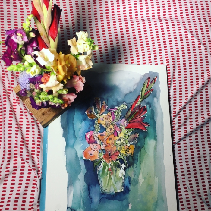 from the first class, watercolor flowers