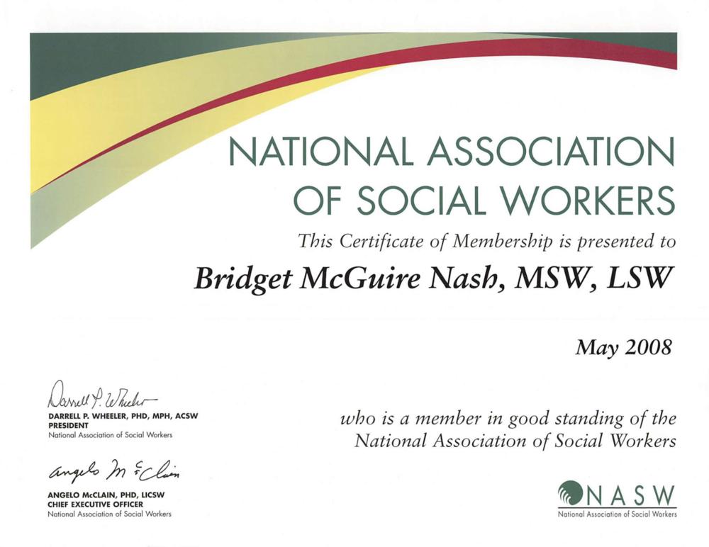 Bridget Nash, LCSW - NASW Membership