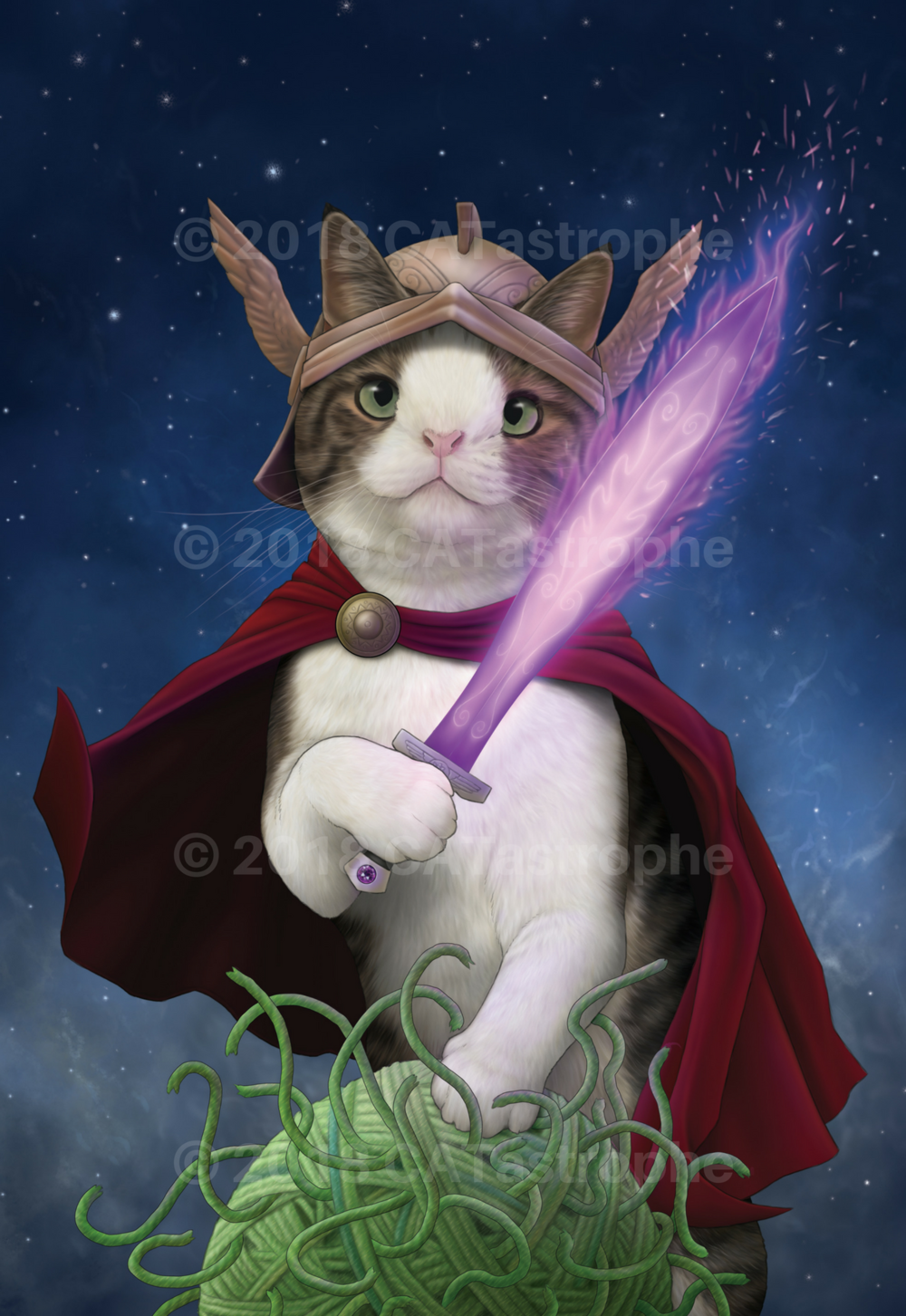 Purrseus: Hero of Happiness   Illustration inspired by:  @monty_happiness