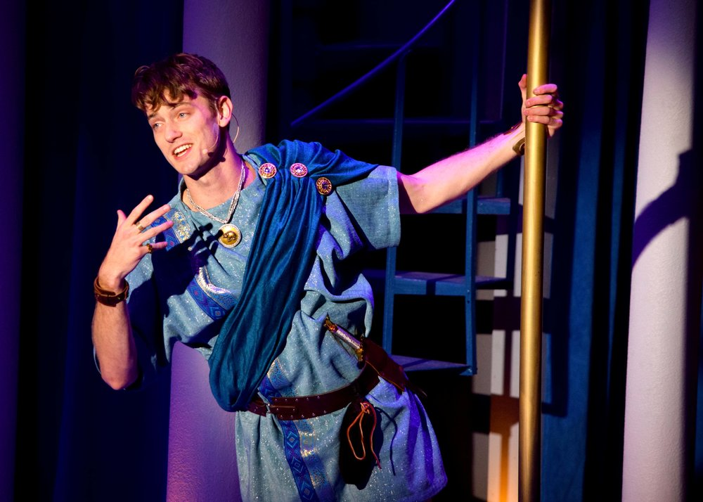 Hero (Michael Thomas Grant) in A Funny Thing Happened On The Way To The Forum at the Garry Marshall Theatre. Photo by Chelsea Sutton.