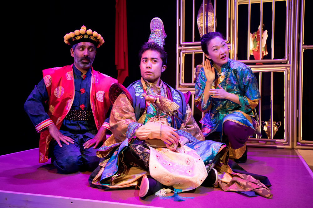 Ravi Kappor, Marc Fajardo, and Jully Lee in The Enchanted Nightingale at the Garry Marshall Theatre. Photo by Lisa Francesca Photography.