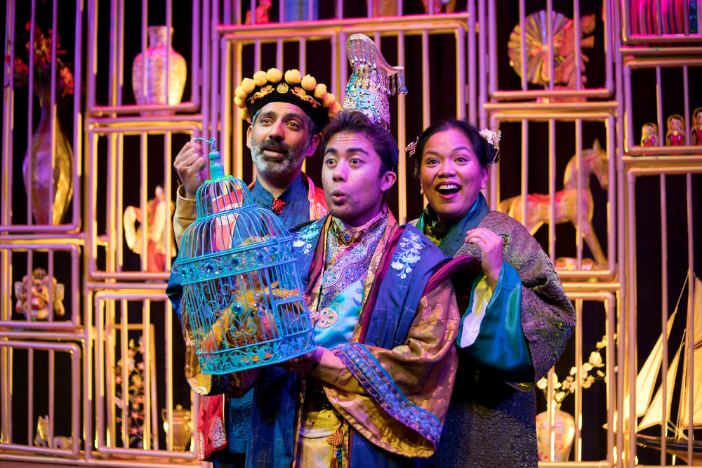 Ravi Kappor, Marc Fajardo, and Melody Butiu in The Enchanted Nightingale at the Garry Marshall Theatre. Photo by Lisa Francesca Photography.