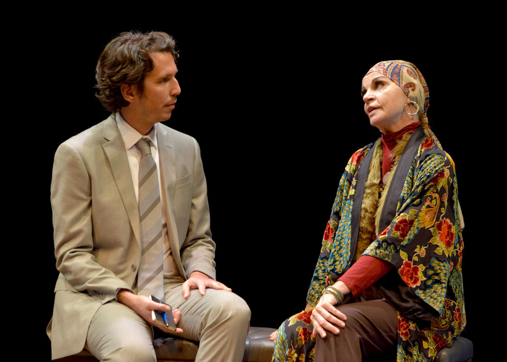 James Liebman and Martha Hackett in the west coast premiere of Edward Albee's Occupant at the Garry Marshall Theatre. Photo by Chelsea Sutton.