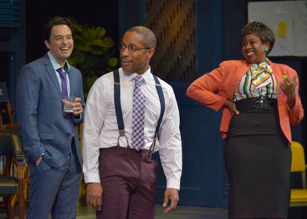 Lucas (Jason Grasl), Kenny (Cornelius Jones, Jr.), and Carol (LaNisa Renee Frederick) in Laughter on the 23rd Floor at the Garry Marshall Theatre.