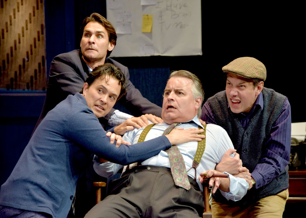Milt (Ty Mayberry), Lucas (Jason Grasl), Max (Pat Towne), and Brian (John Ross Bowie) in Laughter on the 23rd Floor at the Garry Marshall Theatre.