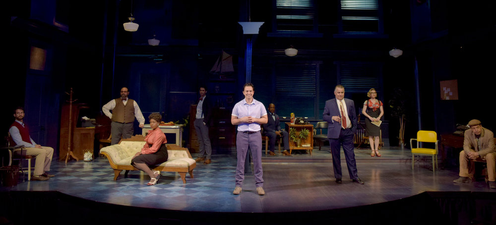 The ensemble (Jeff Campanella, Roland Rusinek, LaNisa Renee Frederick, Ty Mayberry, Jason Grasl, Cornelius Jones, Jr., Pat Towne, Jessica Joy, and John Ross Bowie in Laughter on the 23rd Floor at the Garry Marshall Theatre.