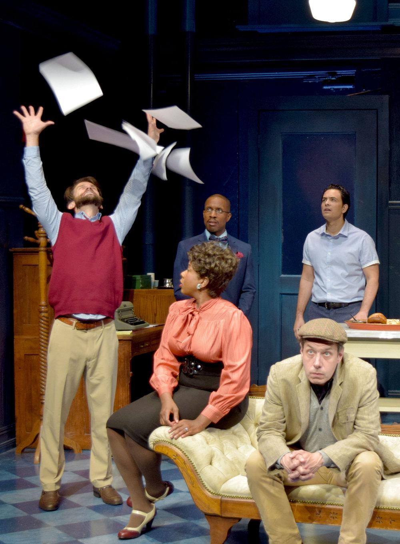Ira (Jeff Campanella), Kenny (Cornelius Jones, Jr.), Carol (LaNisa Renee Frederick), and Lucas (Jason Grasl), Brian (John Ross Bowie) in Laughter on the 23rd Floor at the Garry Marshall Theatre.