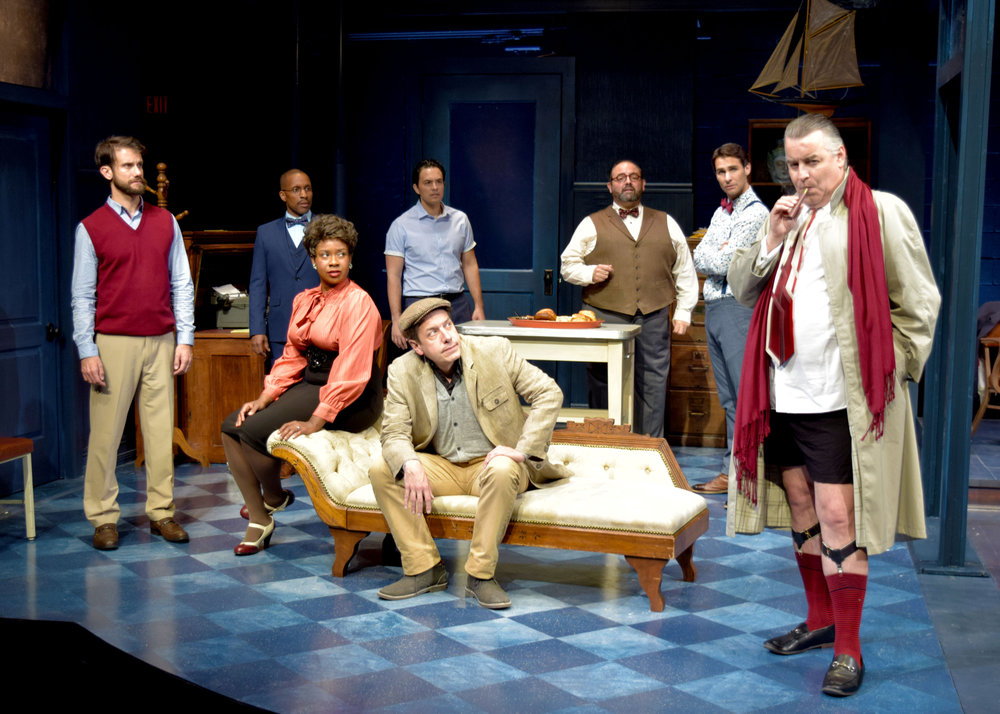 Ira (Jeff Campanella), Kenny (Cornelius Jones, Jr.), Carol (LaNisa Renee Frederick), Lucas (Jason Grasl), Brian (John Ross Bowie), Val (Roland Rusinek), Milt (Ty Mayberry), and Max (Pat Towne) in Laughter on the 23rd Floor at the Garry Marshall Theatre.