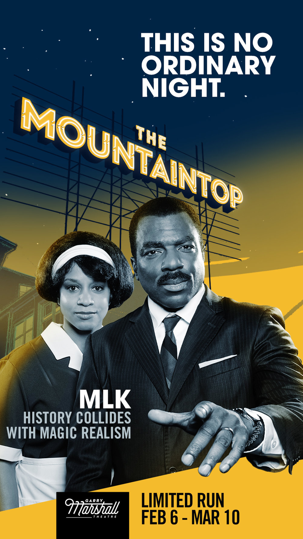 Pictured: Carolyn Ratteray (as Camae), Gilbert Glenn Brown (as Dr Martin Luther King Jr), Photograph by Lorenzo Hodges