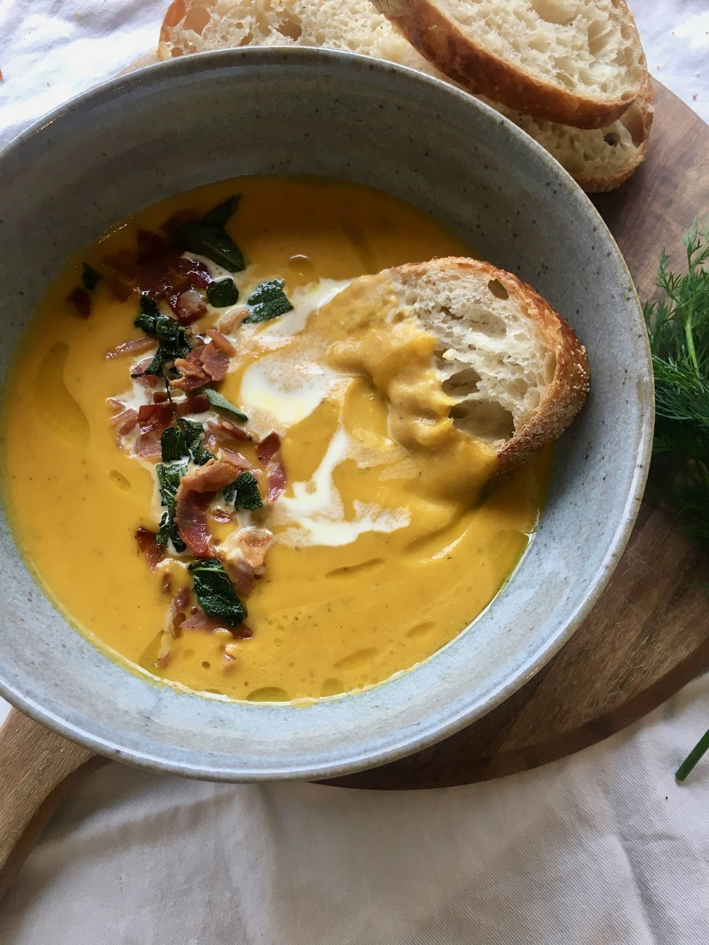 pumpkin soup and pancetta