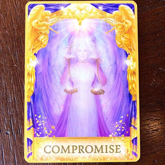 Your card today is coming in very strong. It's about compromise. I am hearing there is some struggle going  on around you. You are feeling off. It's because the balance is not equal. Once they become more aligned, you will be so much happier. I am hearing you are trying to force a situation, but control is an illusion. Find the balance with this person or experience and you will find balance in yourself. ✨✨✨Reading from Angel Answers Oracle Cards.