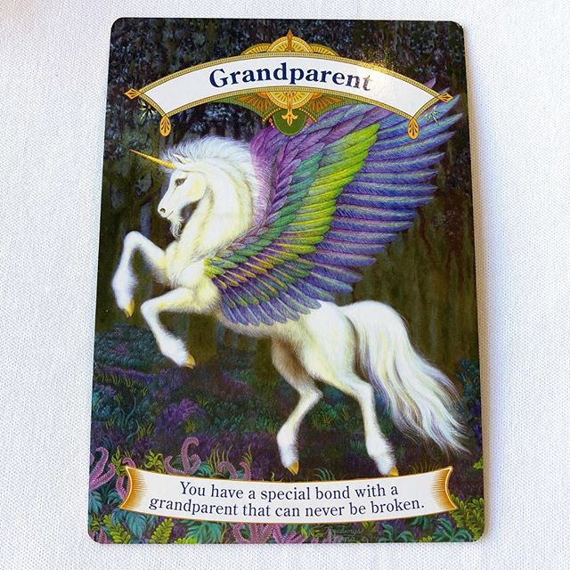 Your angels want to acknowledge that you have a grandparent that is very close to you right now. Whether in spirit or on this plain, you have a very sting connection. This is a very powerful bond and they want you to know that you are not alone. That you are protected. This card can also mean an elder in your life that is in a mentor role for you. This relationship is powerful for both of you and you both learn and grow from each other. ✨✨✨Reading from Magical Unicorns Oracle Cards.