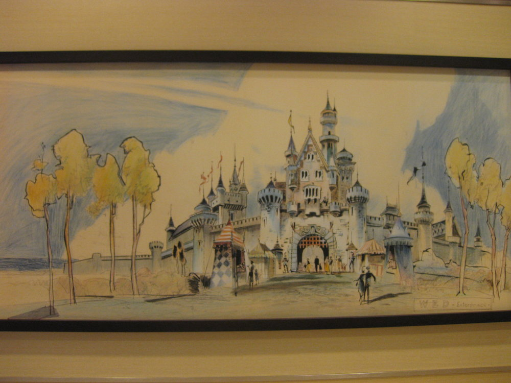 Sketch of Sleeping Beauty castle at the Disneyland Hotel